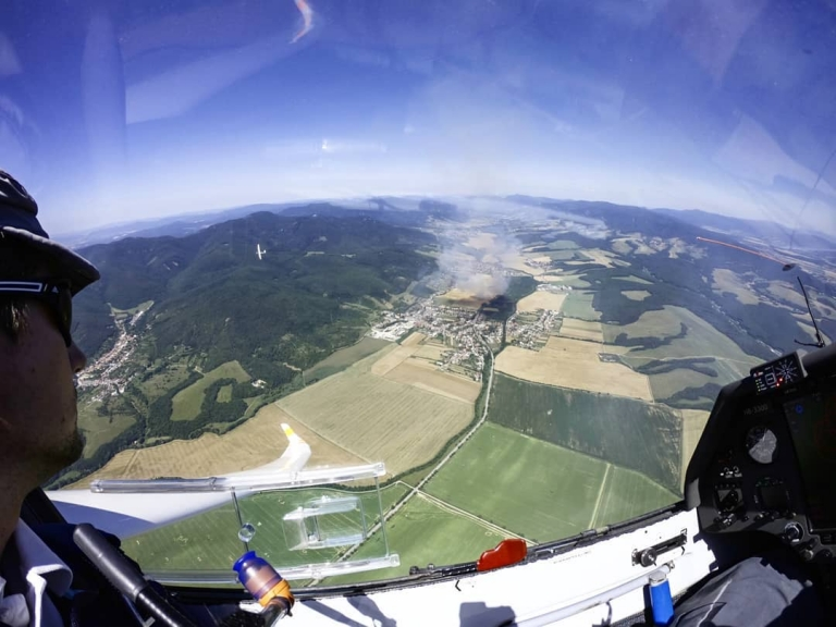 Over the slovakian fatra while using an updraft from a fire