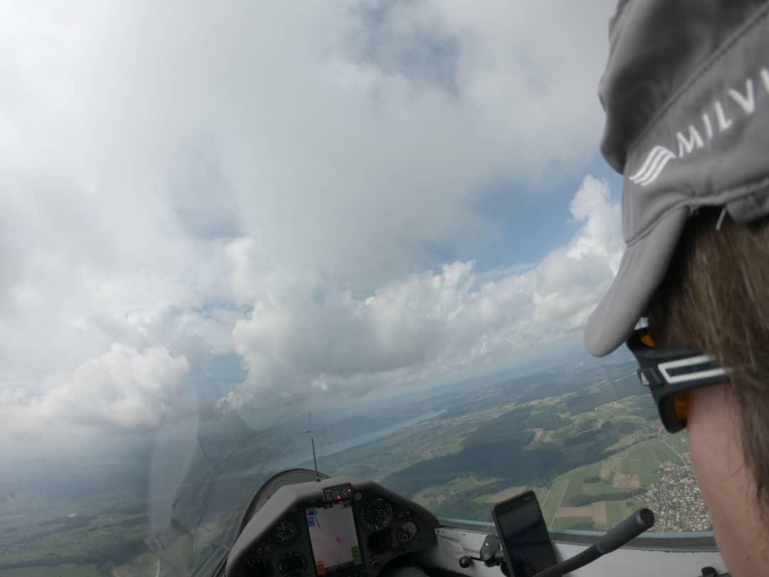 Through the swiss flatland under a low cloudbase